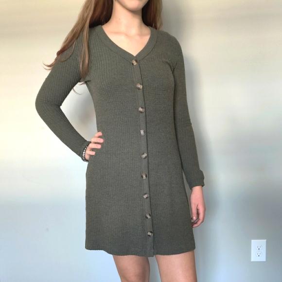Green knit sweater dress